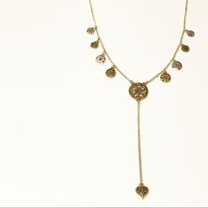 Lucky Brand • Silver & Gold Lariat Necklace